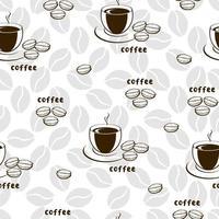 nahtloses Muster des dekorativen Vektors mit Illustration von Tassen und Kaffeebohnen. Hintergrund mit Getränkeschalen Kunst und Kalligraphie auf weißem Hintergrund. vektor