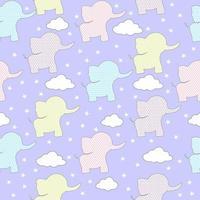 sömlösa mönster söta elefanter med moln och stjärnor. vektor bakgrund. baby pojke och flicka tryck.