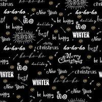 nahtloses Muster mit kalligraphischem Text des frohen Weihnachtshintergrundes, Feiertagswünsche. Vektor Neujahrsmuster für Design-Grußkarten, Banner, Einladungen, Poster.