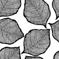 nahtloses Muster des schwarzen Skizzenblatts. elegante schöne Naturverzierung für Stoff, Verpackung und Textil. Sammelalbum Schwarzweißpapier. vektor