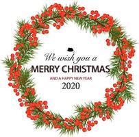 Tannenzweige, Ebereschenbeeren. dekorative Grußkarte frohes neues Jahr und frohe Weihnachten. Werbebanner für Handel und Verkauf. vektor