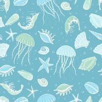 sömlös handritad snäckskal, stjärnor, maneter och räkor. marin illustration av havsskaldjur. perfekt för textil, omslag, tapeter. vektor