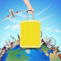 Reisen Sie mit Flugzeug und Tasche um die Welt vektor