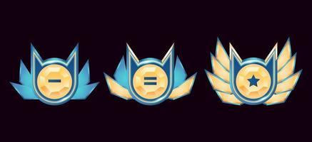 Spiel ui glänzende Fantasie goldenen Diamanten Rang Abzeichen Medaillen mit Flügeln gesetzt vektor