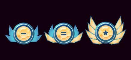 Fantasy-Spiel ui glänzend abgerundete goldene Diamant Rang Abzeichen Medaillen mit Flügeln gesetzt vektor