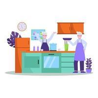 flache Vektorillustration des Küchenchefs bereitet Essen gut für Käufer in Restaurants vor vektor