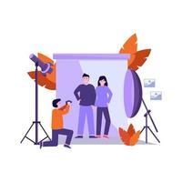 Die flache Vektorillustration des Fotografen bereitet die Ausrüstung vor und macht ein Foto des Modells professionell vektor