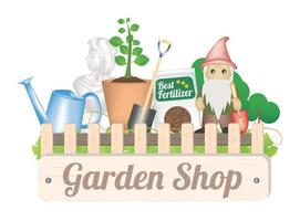 Gartengeschäft Objekt mit Schaufel Baum Pflanze Dünger Bewässerung kann Gnom und Garten vektor