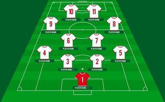 Bildung der Fußballmannschaft. Fußball oder Fußballfeld mit 11 Hemd mit Zahlenvektorillustration. Fußballaufstellung vektor