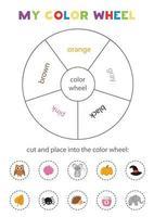 mein Farbrad. Lernspiel zum Erlernen der Grundfarben. vektor