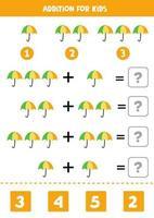 Zusatz für Kinder mit niedlichem Cartoon-Regenschirm. vektor