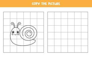 Kopieren Sie das Bild der niedlichen Schnecke. logisches Spiel für Kinder. vektor