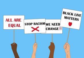 Stoppt das Rassismuskonzept, Hände mit unterschiedlicher Hautfarbe halten Plakate aus Protest, Kundgebung aufgrund der Unterdrückung von Schwarzen, Vektorschablone, Gekritzel, Handzeichnung. vektor