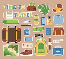 Set touristische Dinge Aufkleber für ein Tagebuch, Reiseartikel, Herren Set, Vektor Objekte Koffer, Rucksack, Erste-Hilfe-Kit, Geld in Brieftasche, Reisepass, Flugticket.