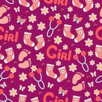 niedliche Baby-Fußabdruckspielzeuge für nahtloses Muster des Babys, rosa Druck für neugeborenes Mädchen, Vektorillustration im Gekritzelstil, Karikatur. vektor