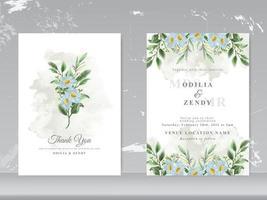 vacker blommig akvarell bröllop inbjudningskort set vektor