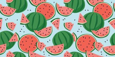 Vektor nahtloses Muster mit Wassermelonen. trendige handgezeichnete Texturen. modernes abstraktes Design