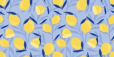 Vektor nahtloses Muster mit Zitronen und Limetten. trendige handgezeichnete Texturen. modernes abstraktes Design für Papier, Umschlag, Stoff, Inneneinrichtung und andere Benutzer.