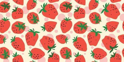 Vektor nahtloses Muster mit Erdbeere. trendige handgezeichnete Texturen. modernes abstraktes Design