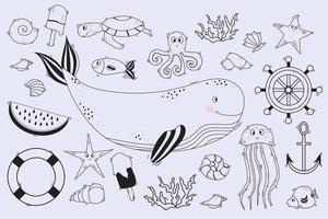 große Menge linearer Meereslebewesen. Unterwasserbewohner - Wal und Delphin, Tintenfisch und Fisch, Seestern und Quallen, Schildkröten, Muscheln und Korallen. Vektor. Linie, Umriss vektor