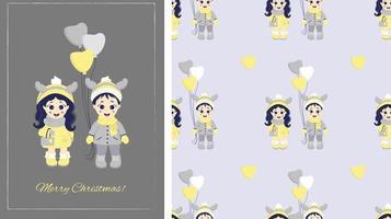 Kinder Winter. nahtlose Muster und Grußkarte frohe Weihnachten. Paar - ein Junge und ein Mädchen mit Hirschgeweih auf dem Kopf und mit Luftballons in Winterkleidung auf grauem Hintergrund. Vektor