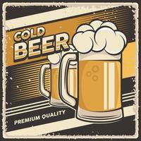 Retro Vintage Illustration Vektorgrafik von kaltem Bier fit für Holzplakat oder Beschilderung vektor