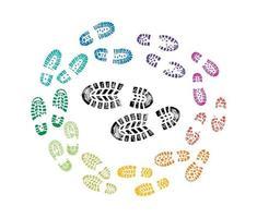 Schuhdruck mehrfarbiges Zeichen vektor