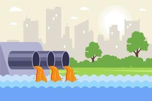 städtisches Abwasser wird durch Rohre in den Fluss eingeleitet. Kontamination von Wasser aus Fabriken. flache Vektorillustration. vektor