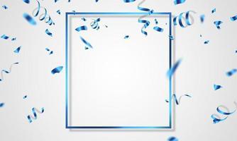 blauer Feierrahmenhintergrund. blaues Konfetti glitzert für Ereignis- und Feiertagsplakat. Singles Super Sale vektor