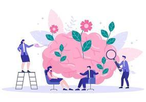 psychische Gesundheit aufgrund von Psychologie, Depression, Einsamkeit, Krankheit, Gehirnentwicklung oder Hoffnungslosigkeit. Psychotherapie und psychische Gesundheitspflege. Illustration vektor
