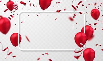 Ballons roter Feierrahmenhintergrund. rotes Konfetti glitzert für Ereignis- und Feiertagsplakat. Singles Super Sale vektor