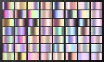 Stellen Sie bunte Pastellgradienten-Chromfarbfolien-Texturhintergrund ein. Vektor golden, Kupfer Messing und Metallschablone.