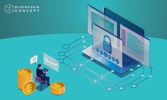 Konzept der Block-Chain-Technologie, Datenanalyse für Investoren, Marketinglösungen oder finanzielle Leistung. Kryptowährungsstatistikkonzept, Illustration moderner flacher Entwurf isometrischer Vektor