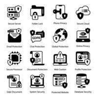 allmänna dataskyddsföreskrifter ikonuppsättning vektor