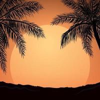 realistisk havssolnedgång på bakgrunden av palmer - vektor