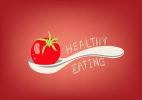 gesunde Ernährung, Löffel und Tomate vektor