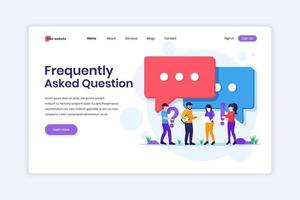 Landingpage-Design-Konzept von häufig gestellten Fragen oder FAQ-Konzepten, Personen mit nahezu großem Ausrufezeichen und Fragezeichen. Vektorillustration vektor