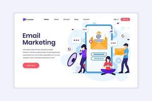 målsidesdesignkoncept för e-postmarknadsföringstjänster, reklamkampanj, digital marknadsföring på mobiltelefon. vektor illustration