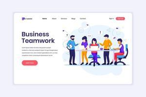 Landingpage-Design-Konzept für Business-Teamwork, Mitarbeiter, die in Tischbesprechungen und im Co-Working-Office arbeiten. Vektorillustration vektor