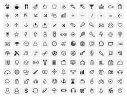 130 Vektor schwarze Web-Symbole auf grau gesetzt