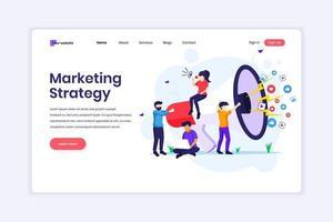 målsidesdesignkoncept för marknadsföringsstrategikampanjkoncept, människor som håller och ropar på en jätte megafon. vektor illustration