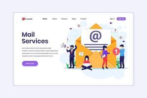 målsidesdesignkoncept för e-postmarknadsföringstjänster, reklamkampanj, digital marknadsföring med karaktärer. vektor illustration