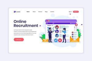 målsidesdesignkoncept för online rekryteringskoncept, människor som söker kandidat för en ny anställd, mänsklig resurs. vektor illustration