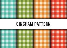 Satz karierte Gingham Linie Tischdecke nahtloses Muster. Premium-Vektor vektor