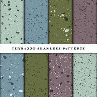 Satz nahtlose Muster im Terrazzo-Stil. Premium-Vektor vektor