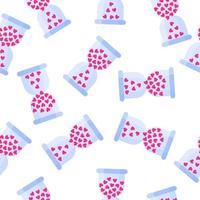 nahtloses Muster der Sanduhr mit Herzen für die Hochzeit oder den Valentinstag. vektor