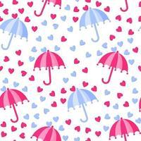 nahtloses Muster des Regenschirms mit Regen vom Herzen für die Hochzeit oder den Valentinstag. vektor