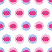 nahtloses Muster von Lippen und Küssen in rosa und blauen Kreisen für die Hochzeit oder den Valentinstag. vektor