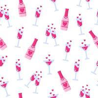nahtloses Muster von Flaschen Champagner und Gläsern für die Hochzeit oder den Valentinstag. vektor