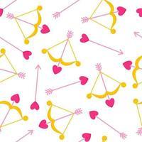 nahtloses Muster von Amor Pfeil und Bogen mit Herz für die Hochzeit oder Valentinstag. vektor